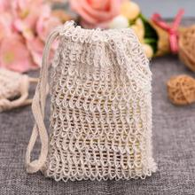 Eco Friendly Natural Cotton Soap Bag Soap Saver Exfoliating Sisal Soap Bag Pouch Cotton Net reusable Bag With Drawstring