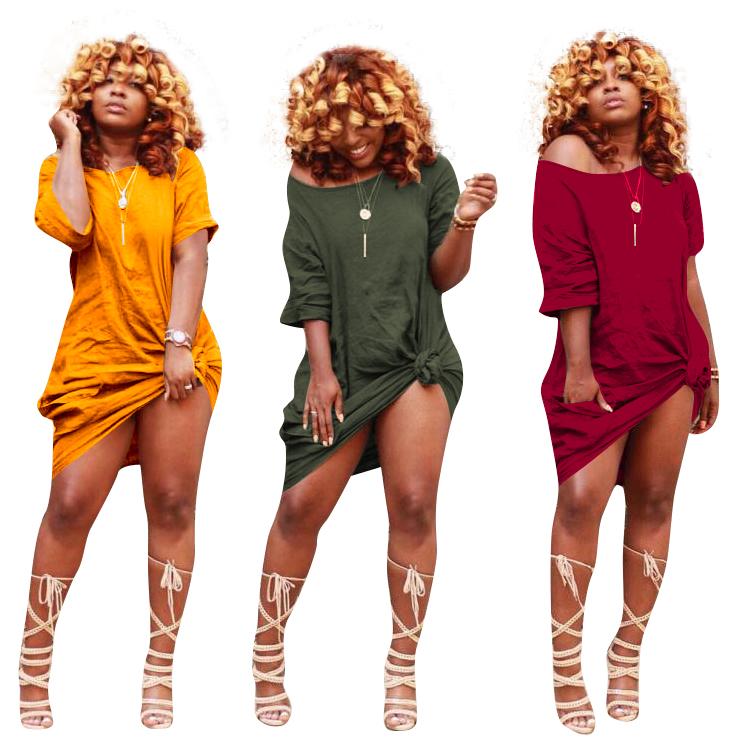 MTY659 2019 गर्म शैली थोक आकस्मिक आरामदायक ठोस रंग कम बाजू की महिलाओं पोशाक
