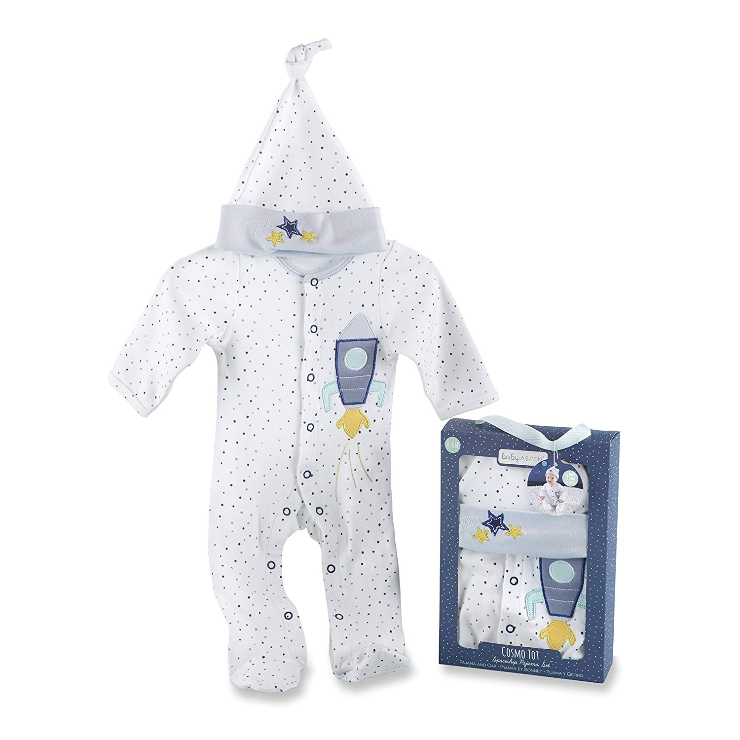 Baby Aspen Cosmo TOT Spaceship Gift Set, White/Blue/Yellow/Mint, 2 Piece, Pajama, 0-6 Months