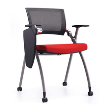 High quality folding mesh office conference training chair with writing pad
