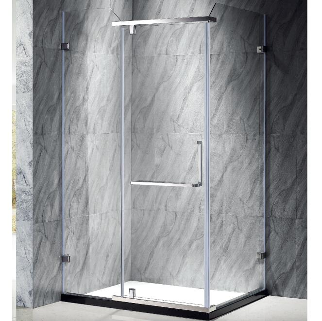 Hinge copper 10mm printed glass corner shower stalls for small bathrooms
