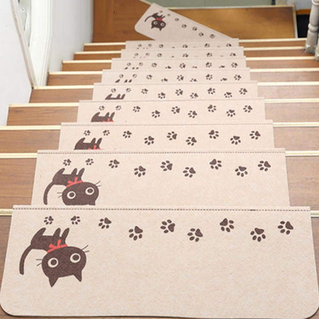 Step Basic Non-Slip Rubber Backing Skid-Resistant Carpet Stair With Cats Claws Pattern (Beige)