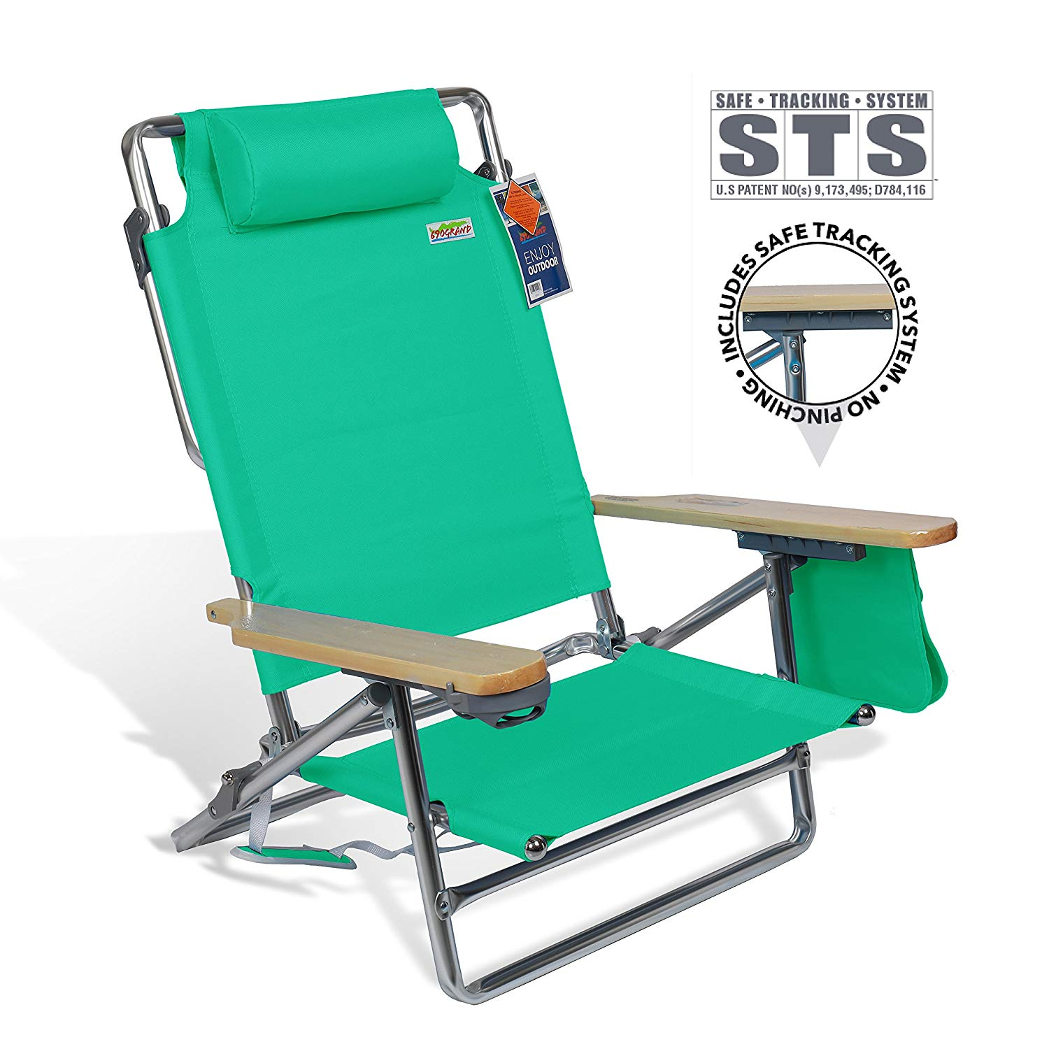 690GRAND Best Folding Beach Chair with Extra Wide Seating Area, 5 Position Lay Flat Reclining Beach Chair with STS including Drink Holder & Towel Bar