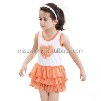 2017 new design cotton baby girl frill dress