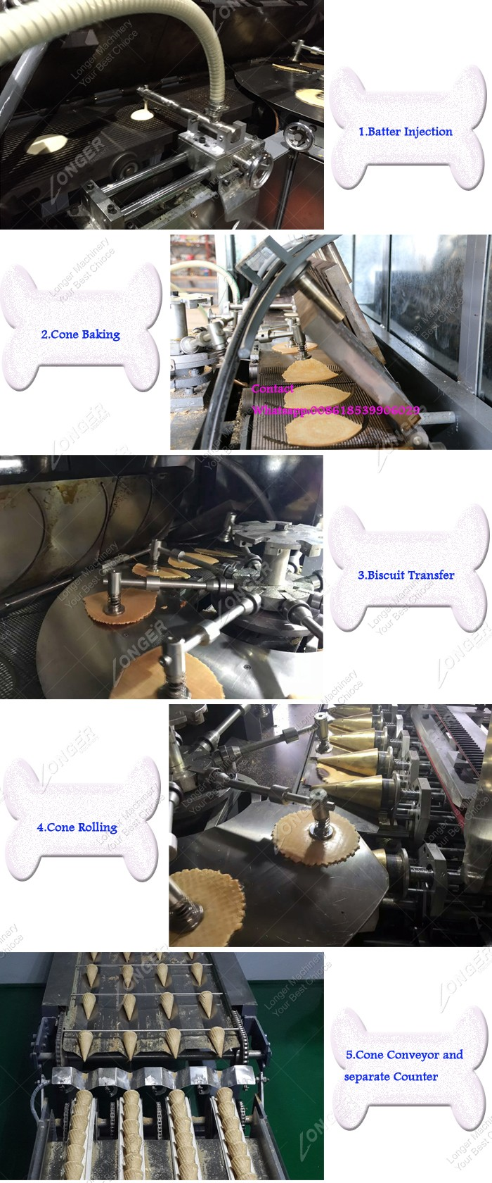 High Efficiency Commercial Ice Cream Cone Biscuit Machine