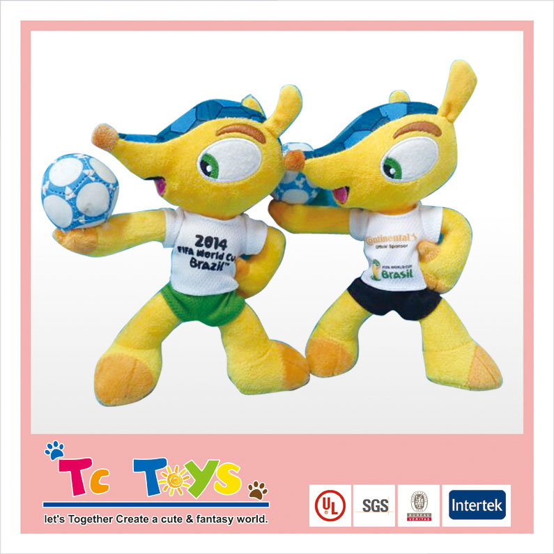 Factory made Custom New Design Cute & Cheap High Quality Plush Toys 2014 world cup mascot