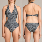 Crossover panels at front all-over zebra print wholesale one piece sexy women swimwear