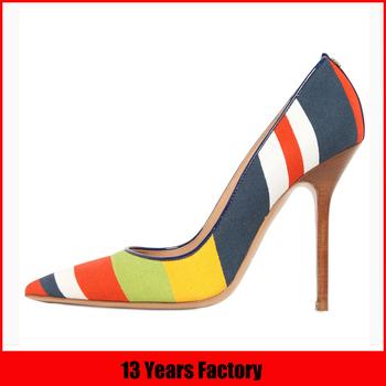2015 d\u0027âge mûr mode italienne multicolore toile talons hauts sexy design  partie chaussures pour