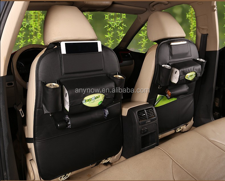 Wholesale universal PU leather material back seat organizer car seat cover trunk organizer