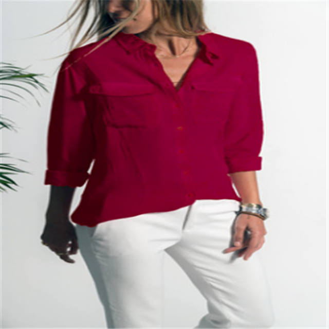 Women's Fashion Autumn Roll-up Sleeve Splice Stripes Blouse Button Down Shirt Top