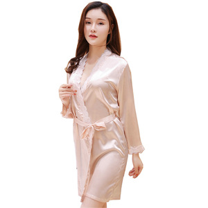 YX Fashion2018 promotion Lace nightgown lady's sexy summer bathrobe is made of silk and thin men kurta pajama suit