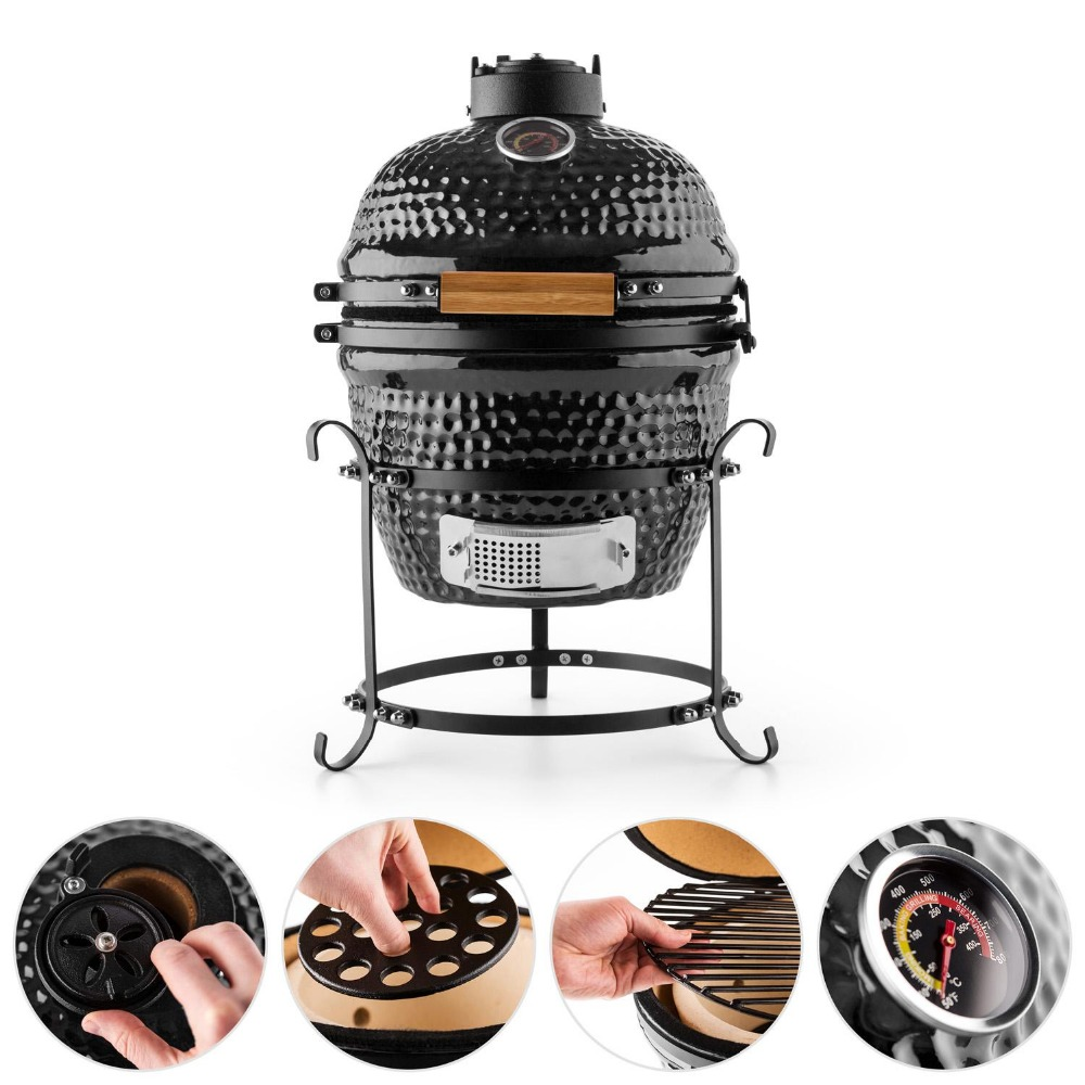 Easy Assembled Portable BBQ Grill Auplex Small Kamado With Cast Iron Base