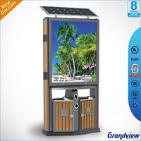 solar outdoor waterproof led advertising Metal dustbin Recycling Bins publicity Trash cans