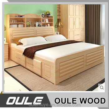 Best Price Latest Indian Pine Wood Double Bed Designs From China
