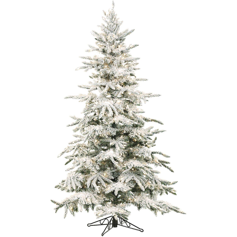 Fraser Hill Farm Flocked Mountain Pine with Smart String Lighting, 7.5', White