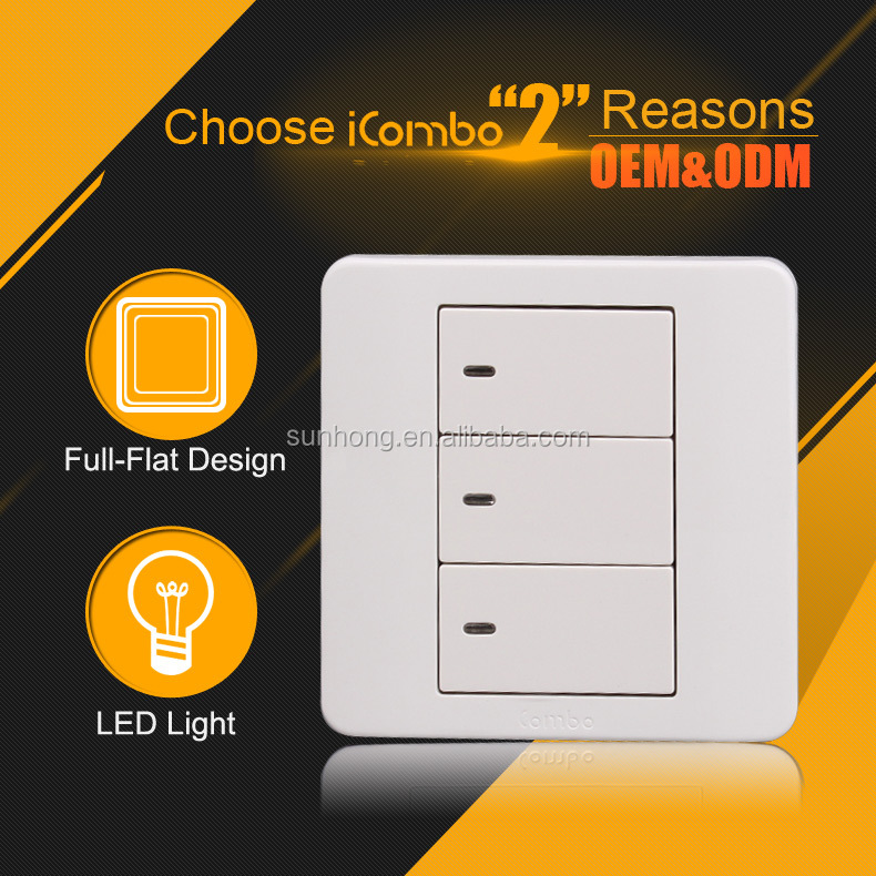 3 Gang 1 Way Full-flat Electric Wall Hot Sell 45a With Neon Light ...