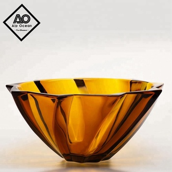 Alp Ocean 30 5cm 12inch Amber Colored Large Glass Bowl Decorative