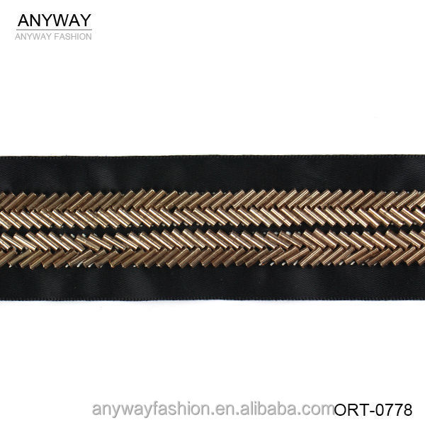 Fashion elastic black ribbon lace