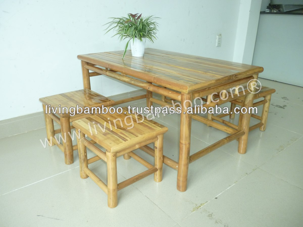 Low Table Set Bamboo Garden Furniture