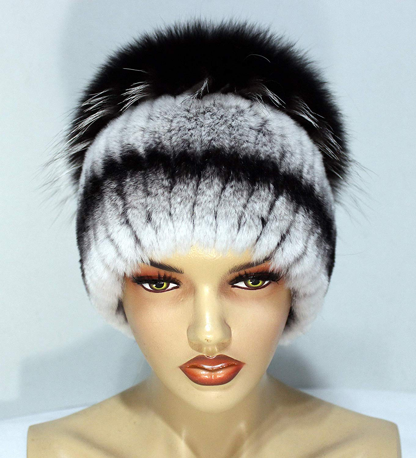 "Furry hat on a knitted basis of polar fox and rex rabbit""Kubanka"" - fur knit hat, fur hats, fur hats for women, woman fur hat, winter hats"