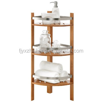 Free Standing Bamboo Bathroom Storage Corner Shelves For Towels Soap Candles Tissues