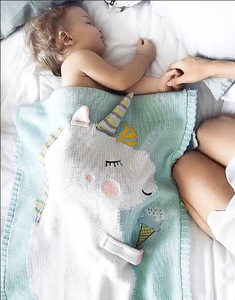 infant baby blankets children air conditioning blanket baby boys girls knitted wool unicorn blanket