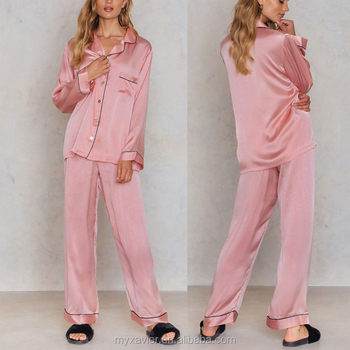 Blush Classic Wide Fit Two-piece Silk Long Sleeves Women Pajama ... 3c6bce5e0