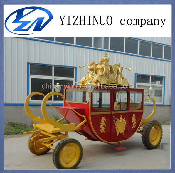New perfect 4 wheels steel royal horse drawn carriage/horse cart with leather seat and hard tyre for sale