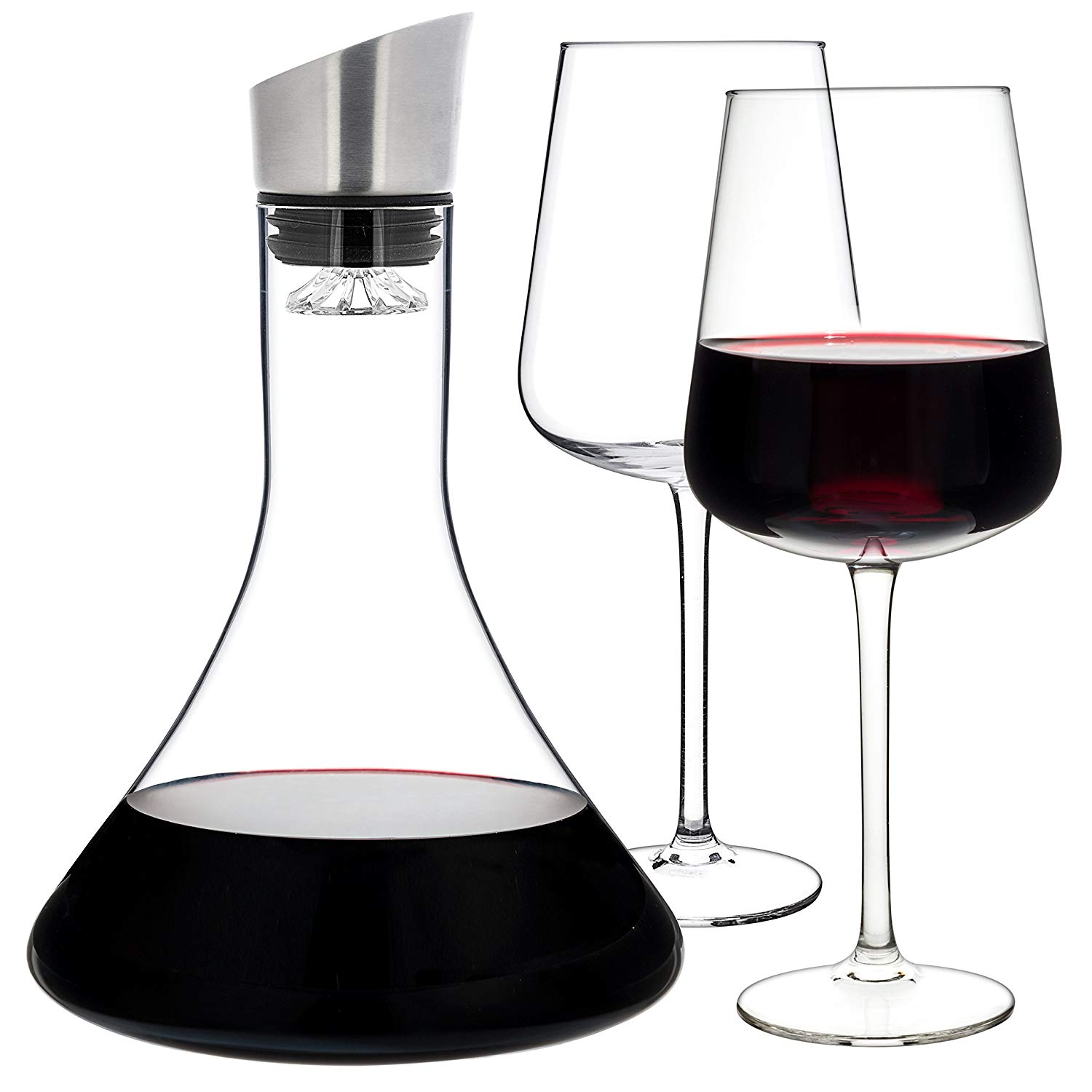 Luxbe - Wine Decanter 54-ounce and Aerator Pourer Lid - With Two Crystal Glasses Set - Hand Blown Lead-free Crystal Glass, Red Wine Carafe - Descanter with Stainless Steel Lid-Aerator, Filter, Pourer