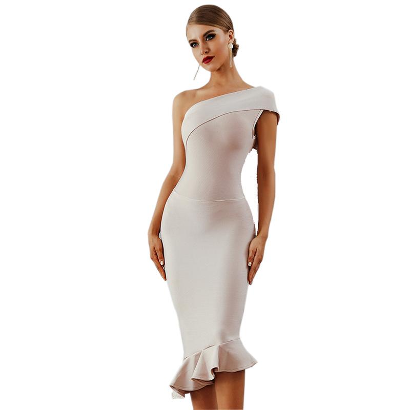 45fa3ab7d 2018 nuevo verano señoras último Vestidos de noche de un hombro fiesta  vestido de celebridad vestido