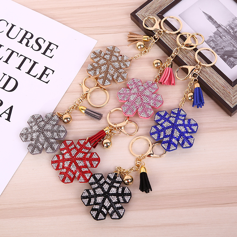Fashion wholesale bag charms popular gift star shaped leather tassel crystal keychain