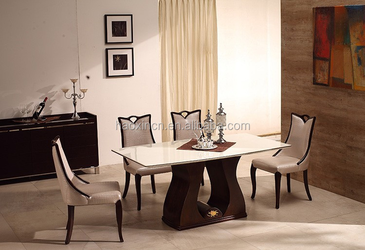 Korean Design Granite Marble Wooden Dining Table
