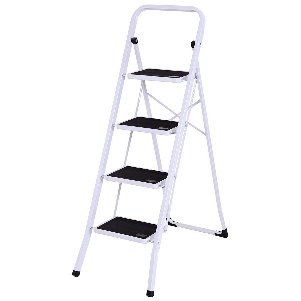 GHP 330-Lbs Capacity White & Black Steel 4-Step Folding Ladder with Curved Legs