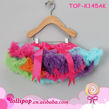 Cheap Wholesale Multi-Colors Super Fluffy Skirt Chiffon Pettiskirts Tutu Colorful Rainbow Pettiskirt For Baby Girls