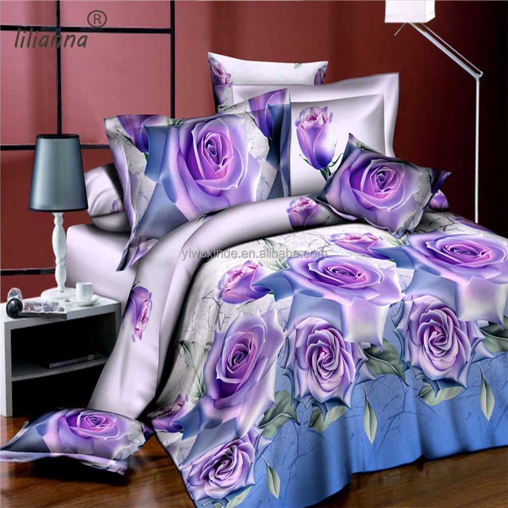 LILIANNA light purple and blue rose 3d bedding sets fancy warm hot sale bedding sets