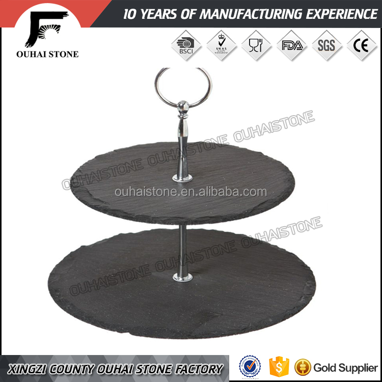 2 tier cheap and unique round slate cake stand