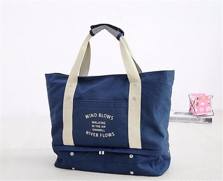 white and dark blue plain cotton bag canvas tote bag