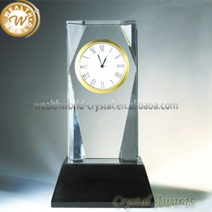 crystal clock trophy and awards with base