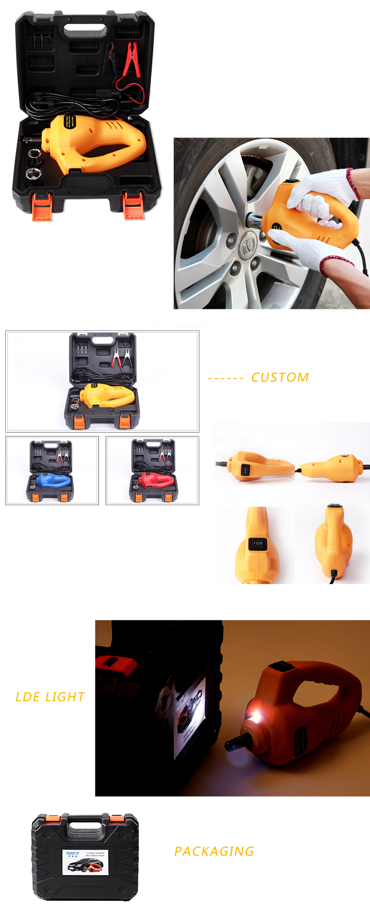 Hot Sale CE ISO ROGTZ DC12V Mini Portable Adjustable Emergency Car Tyre Quick Change Electric Impact Wrench for OEM