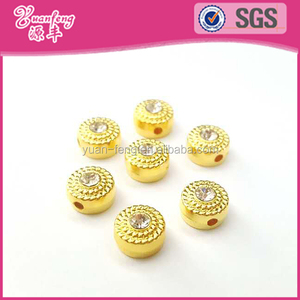 New Products Golden Color Plastic CCB Beads With Rhinestone