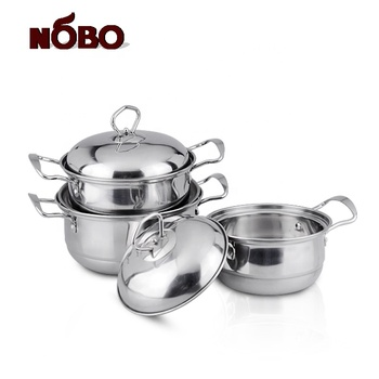 Hot sales real stainless steel cooking pot set chef kitchen cookware