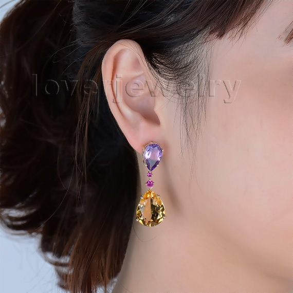 jewellery earrings amethyst natural engagement of kind drop citrine popular in product stones yellow solid different gold