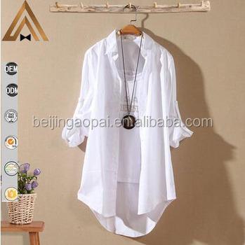 0dc47be47 Primavera moda casual de algodão popeline tops e blusas das senhoras das  mulheres longas camisas brancas