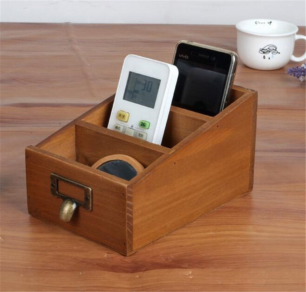 Chris.W 1Pcs Vintage Wooden 3-Compartment Desk Remote Controller Organizer, Home Sundries Storage Box, TV Guide/Mail/CD Caddy/Media Holder, Office Desktop Pencil/Pen Collection(Brown)