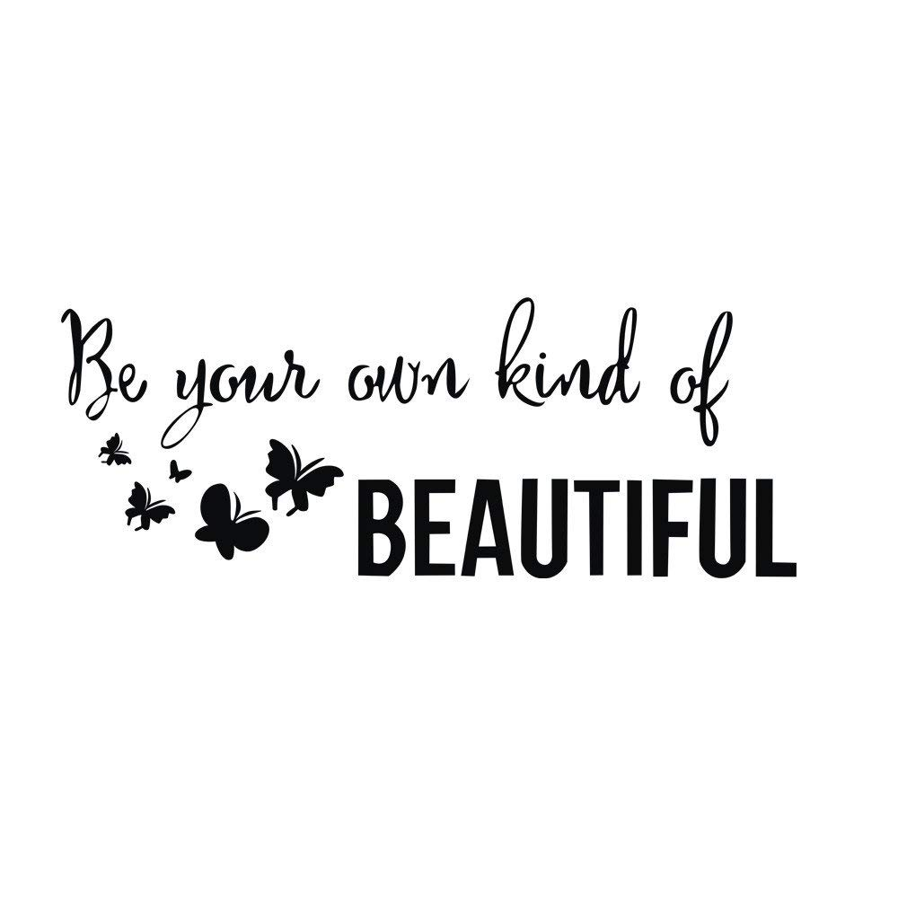 Rumas Removable Wall Stickers Quotes Inspirational for Kids Room - Be Yous Own Kind of Beautiful - Wall Murals for Home Wall Decor - Art DIY Bathroom Decor (Black)