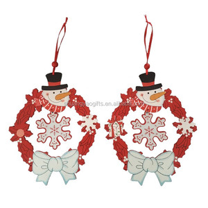 Wooden snowman garland hanging ornaments for christmas decoration XMAS home wooden garland decorative