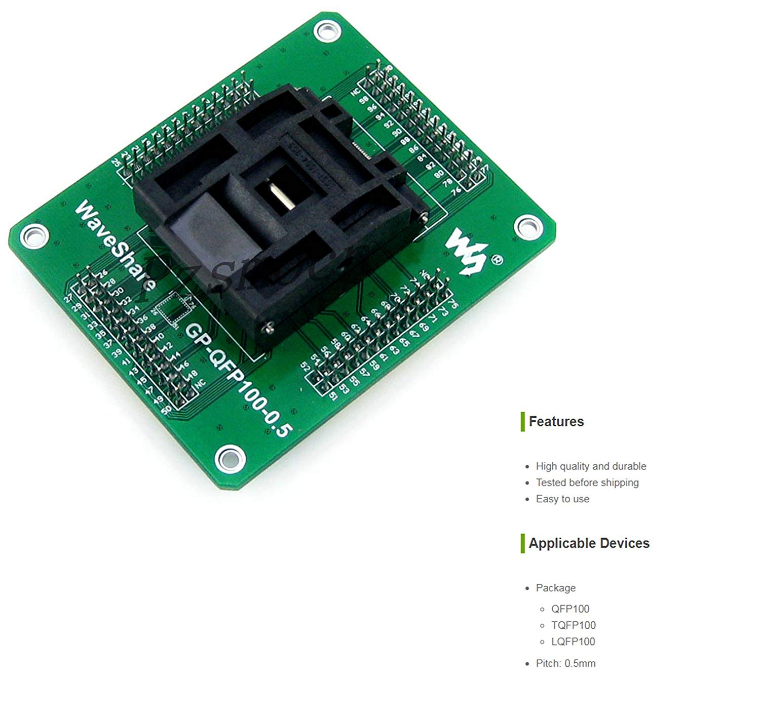 Pzsmocn Programmer Adapter GP-QFP100-0.5 Yamaichi IC Test Socket and Programming Adapter for QFP100 TQFP100 LQFP100 package Pitch 0.5mm