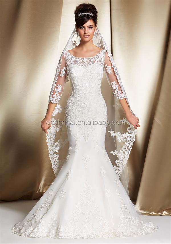 Sd1305 Lace 3/4 Long Sleeve Wedding Dress Muslim Wholesale Wedding ...