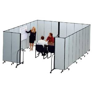 "Screenflex Commercial Edit. Portable Room Dividers-Interlocking Mobile Partitions, 13 Panels, 24'1""x6'"