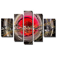 Wholesale Red And Black Line Art Pictures 5 Panels Framed Oil Painting Large Size For Home Decoration
